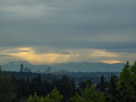 Seattle skyline view on cloudy day. Stock Photo