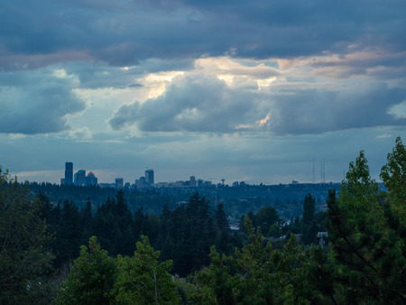 Seattle skyline view on cloudy evening.
