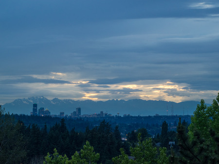 Seattle skyline view on cloudy day. 写真素材