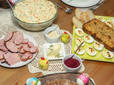 Easter Sunday is celebrated with an Easter breakfast. Easter breakfast includes the foods blessed on Easter Saturday as well as other traditional Easter foods and is typically a family-oriented occasion.