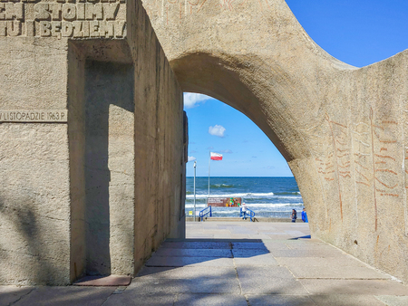The Memorial of Poland's Marriage to the Sea sculpture in Kołobrzeg, Poland Editorial