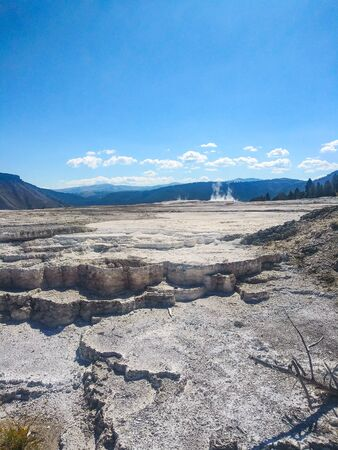 Mammoth Hot Springs is a large complex of hot springs on a hill of travertine in Yellowstone National Park.