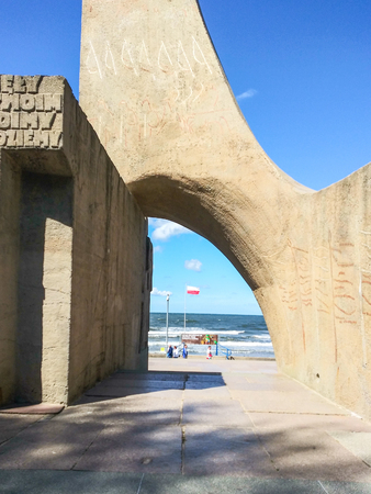 The Memorial of Polands Marriage to the Sea sculpture in Kołobrzeg, Poland Editorial
