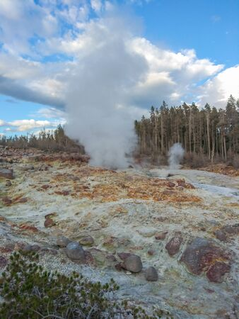 Steamboat Geyser, in Yellowstone National Parks Norris Geyser Basin, is the worlds tallest currently-active geyser.
