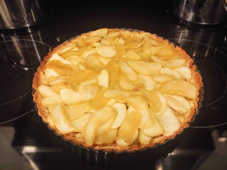 Apple tart is a pastry dish, usually sweet, that is a type of pie with an open top not covered with pastry.