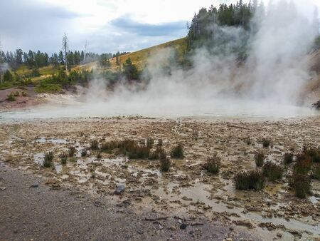 Mud Volcano and Sulfur cauldron are primarily mud pots and fumaroles because the area is situated on a perched water system with little water available. Fumaroles or
