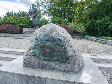 Monument in the form of an erratic stone with a plaque placed on it, on which there is the symbol of Polish Fighting and the inscription Soldiers of the Home Army. Sajtókép