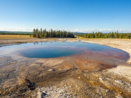 Midway Geyser Basin is much smaller than the other basins found alongside the Firehole River. The largest hot spring in Yellowstone, the 370-foot-wide (110 m) and 121-foot-deep (37 m) Grand Prismatic Spring is also found here.