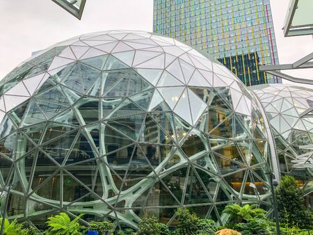 Amazon Spheres are three spherical conservatories that are part of the Amazon headquarters campus in Seattle, Washington, United States. Designed by NBBJ and landscape firm Site Workshop, the three glass domes are covered in pentagonal hexecontahedron pan