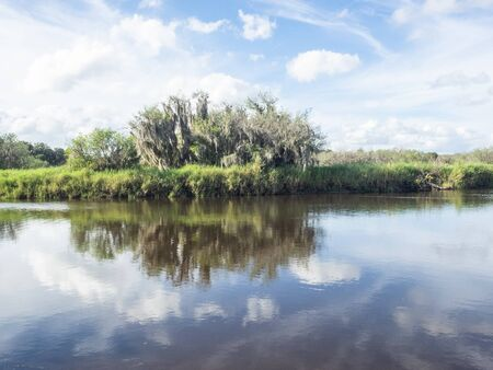 Myakka River State Park is a Florida State Park, that is located nine miles (14 km) east of Interstate 75 in Sarasota County and a portion of southeastern Manatee County on the Atlantic coastal plain. Stock Photo