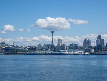 Seattle's waterfront from the Bainbridge Island ferry as it approaches the Seattle ferry terminal at Colman Dock