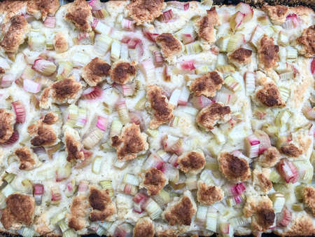 Rhubarb cake ispperfect for coffee break, you can serve it warm Rhubarb gives the cake moisture and a little bit of sourness.
