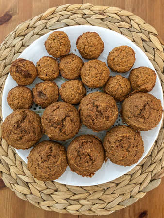 Apple Carrot Muffins (also known as Sunshine Muffins) are full of carrots, apples, coconut, cinnamon & nutmeg Imagens