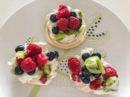 Pavlova is a meringue-based dessert named after the Russian ballerina Anna Pavlova. It is a meringue dessert with a crisp crust and soft, light inside, usually topped with fruit and whipped cream
