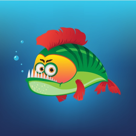 Green Fish with a red fins Stock Vector - 9388826
