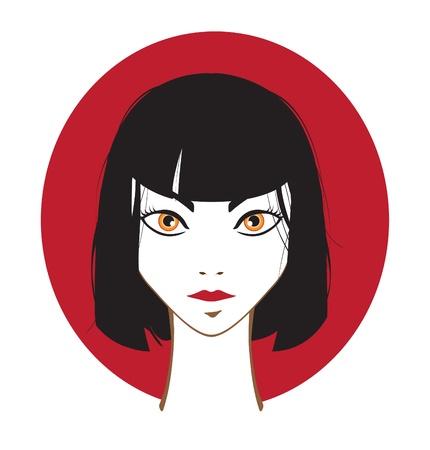 dark hair: Chica de cabello oscuro en el fondo del c�rculo rojo