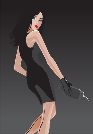 Young woman in black dress Vector