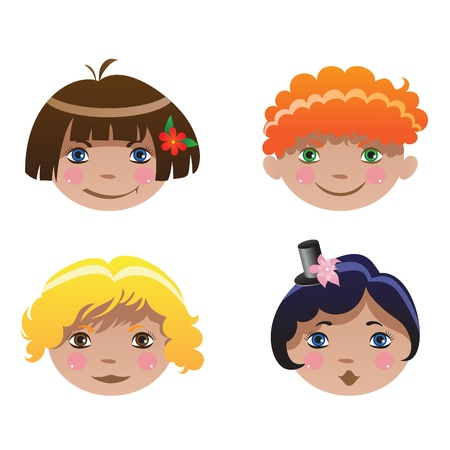 Four children with colorful hairs Stock Vector - 9388821