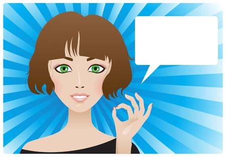 Young woman shows ok-sign Illustration