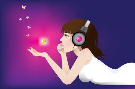 Girl listens to music