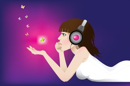 t background: Girl listens to music