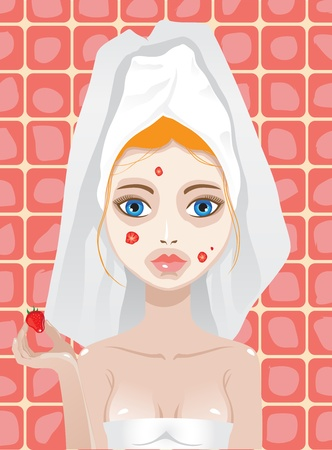 woman hands up: strawberry facemask