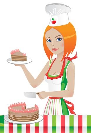 trozo de pastel: linda chica en un sombrero de chef corta la torta
