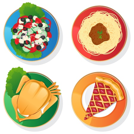 four plates with different delicious contents
