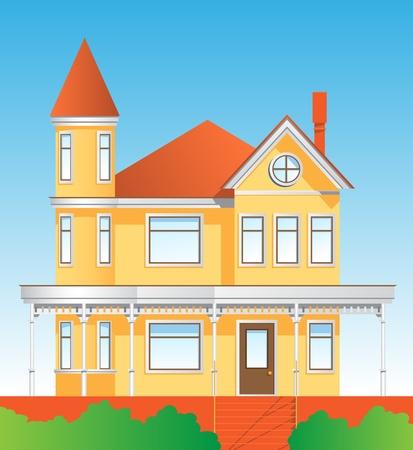beautiful yellow house Illustration