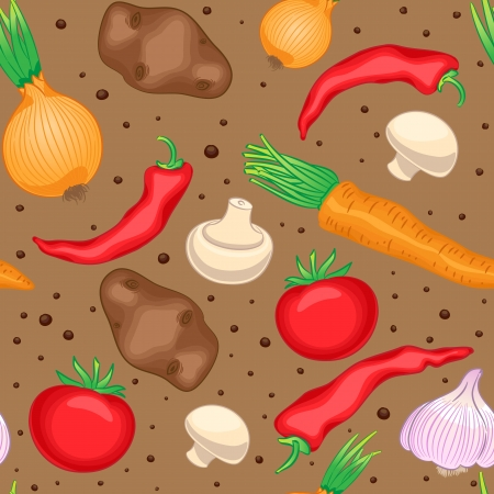Seamless brown pattern with vegetables and mushrooms Vector