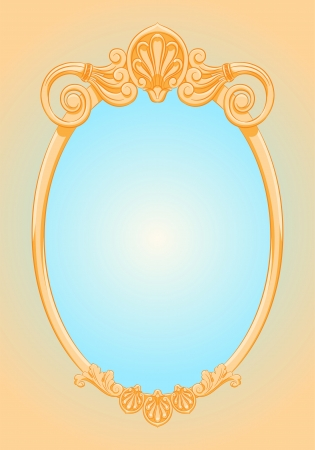 beautiful ornate ellipse gold frame  Mirror  Retro style  Vector