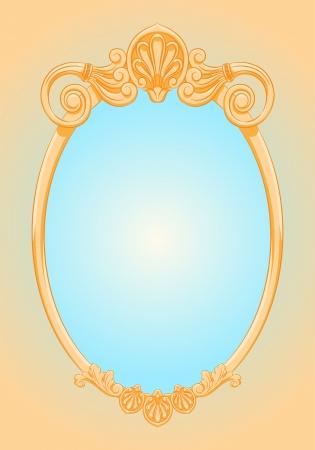 mooie sierlijke ellips gouden frame Spiegel Retro stijl Vector Illustratie