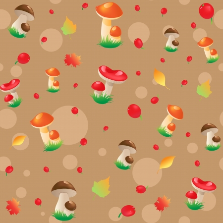 Seamless Pattern with berry, mushrooms and autumn leaves on a brown Background Vector