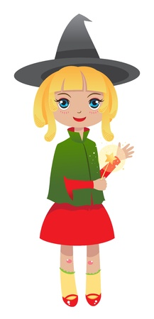 blonde witch works a spell with magic wand Vector