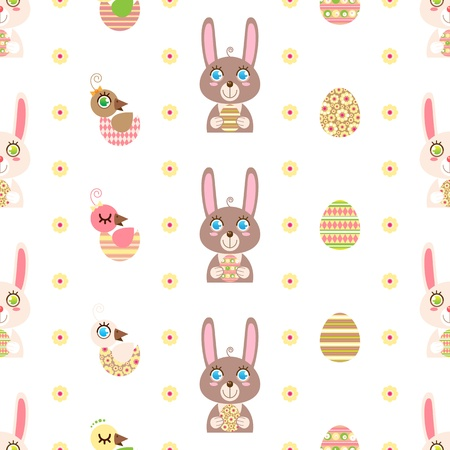 Easter seamless pattern with cute cartoon rabbits and birds on a white background Vector