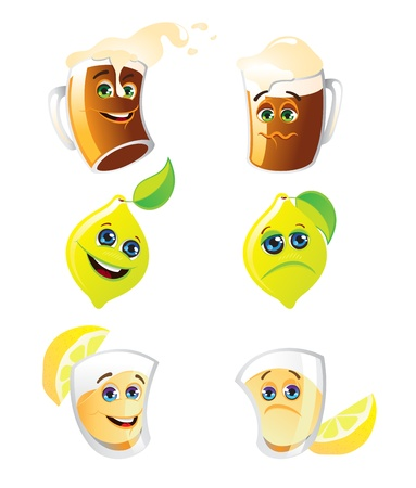 Happy and sad alcohol drinks and lemon  Vector