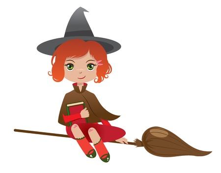 bruja pelirroja con un magicbook volando en su escoba
