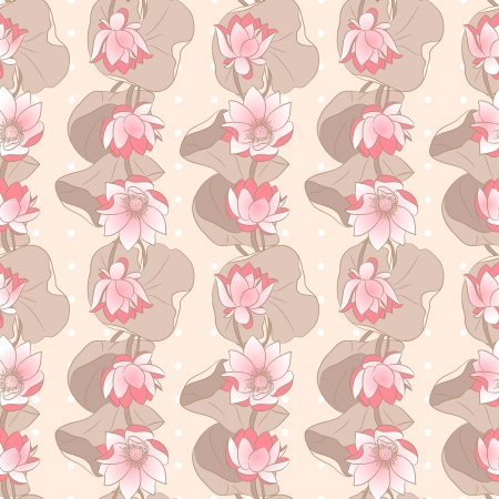 Seamless Floral pattern on a beige background with lotus Vector