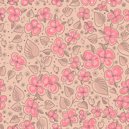 Seamless texture with flowers and birds  Endless floral pattern Stock Vector - 14582805