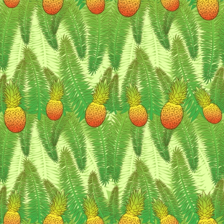 seamless green pattern with palm leaves and pineapples Vector