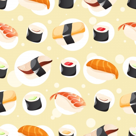 Seamless Pattern wihh different sushi on yellow background Vector