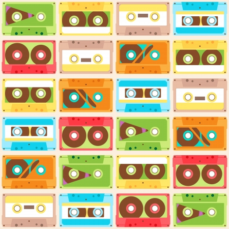 Seamless Pattern with retro different audiocassettes Vector