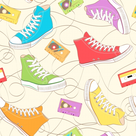 Seamless Pattern with multicolor sneakers and music cassettes