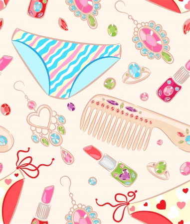 earrings: Seamless pattern with women s jewelry and objects of care Illustration