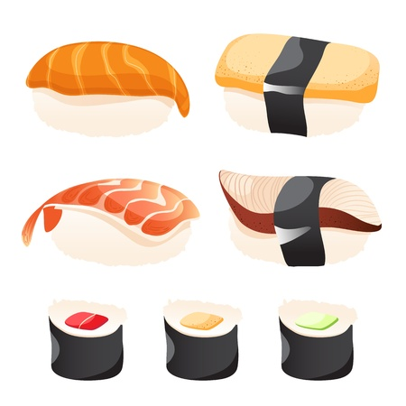 Set of different sushi on a white background Stock Vector - 14582744
