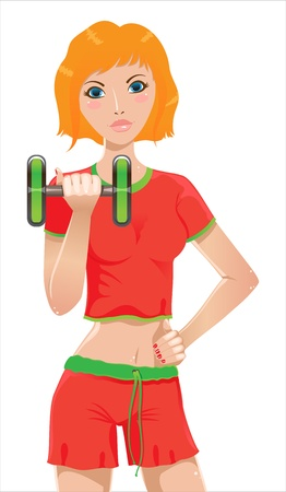 red haired woman: Red-haired girl playing sports Illustration