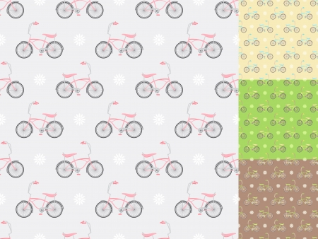 four seamless patterns with bicycles in different colors Stock Vector - 14872992