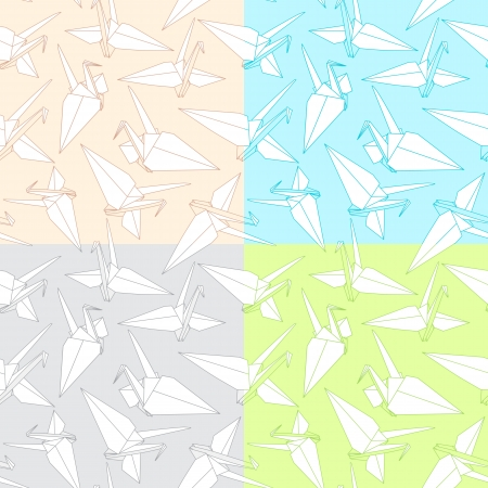 Different Seamless Pattern of a Japanese crane