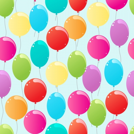 colorful flying balloons on a blue background