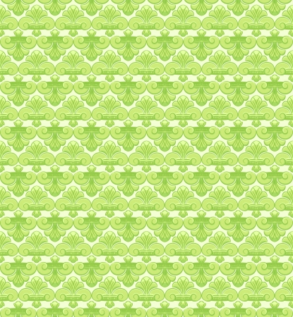 Seamless green pattern with retro lily